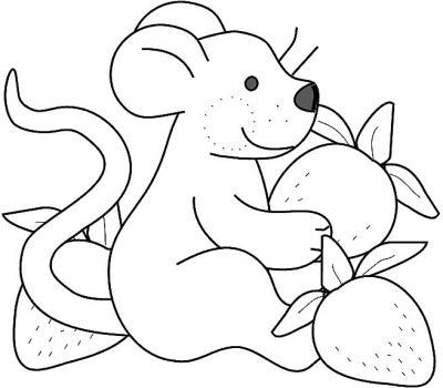 Gráficos para colorear: Ratoncito con frutillas.