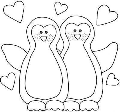 Gráficos para colorear: Pingüinitos enamorados.
